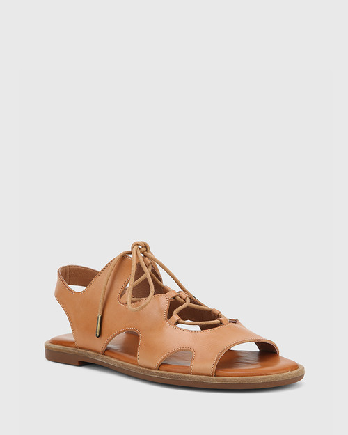 Crowe Tan Leather Lace Up Sandal.