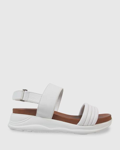 Kenya White Leather Open Toe Flatform Sandal. & Wittner & Wittner Shoes