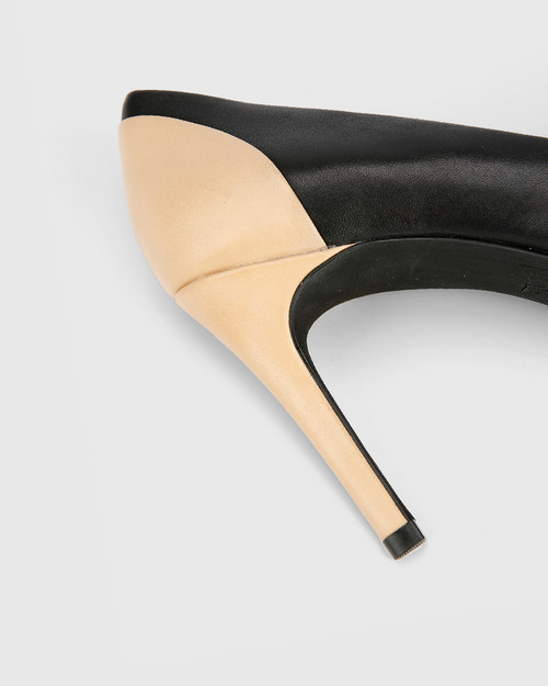 Haddow Black and Natural Leather Pointed Toe Stiletto Heel. & Wittner & Wittner Shoes