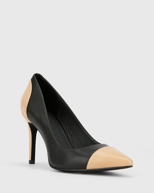 Haddow Black and Natural Leather Pointed Toe Stiletto Heel.