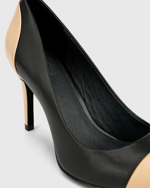 Haddow Black and Natural Leather Pointed Toe Stiletto Heel