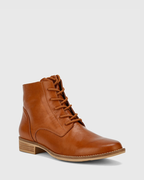 Carver Cognac Leather Lace Up Flat Ankle Boot