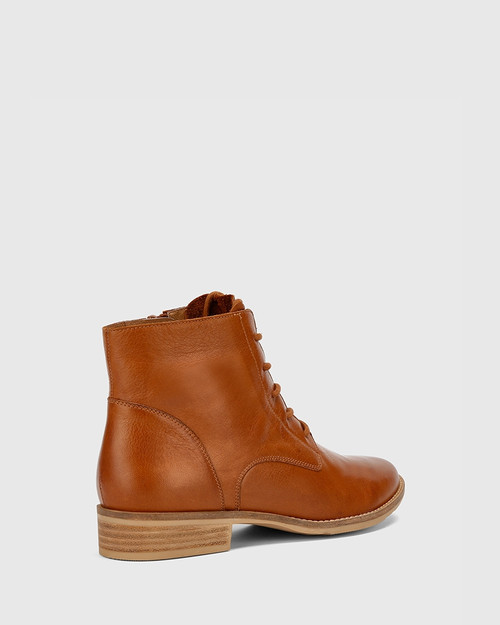 Carver Cognac Leather Lace Up Flat Ankle Boot.