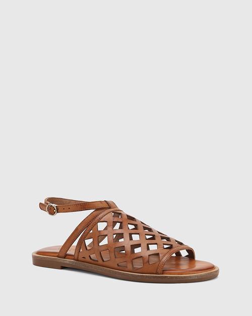 Cross Dark Cognac Leather Laser Cut Ankle Strap Sandal.