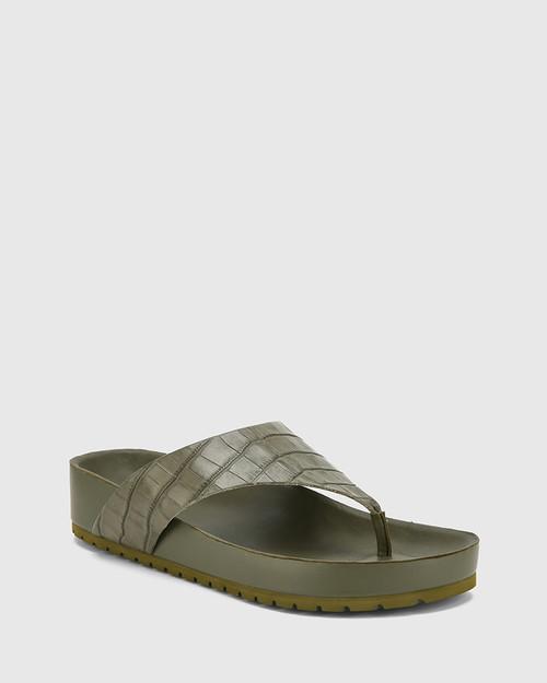 Erma Army Croc-Embossed Leather Platform Thong Sandal