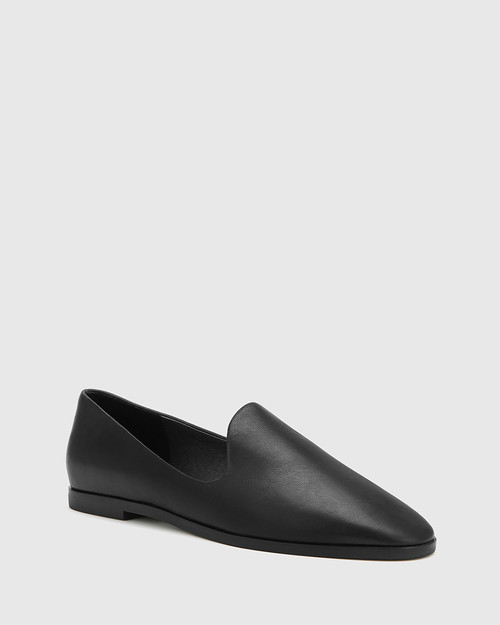 Alpine Black Leather Pointed Toe Flat