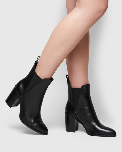 Honesty Black Leather Elasticated Gusset Block Heel Ankle Boot. & Wittner & Wittner Shoes