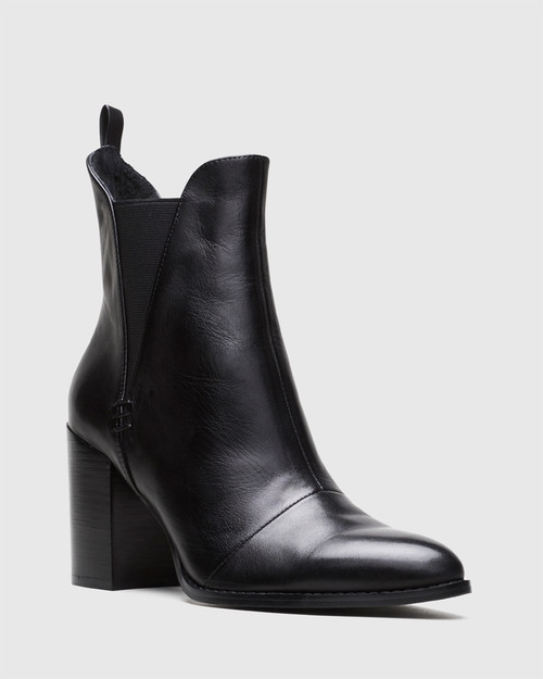 Honesty Black Leather Elasticated Gusset Block Heel Ankle Boot.