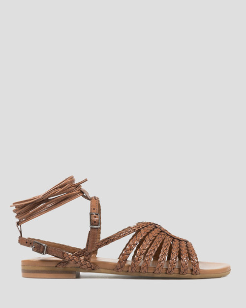 Parella Tan Leather Braided Flat Sandal.