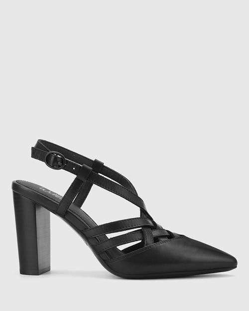 Hao Black Leather Pointed Toe Block Heel.