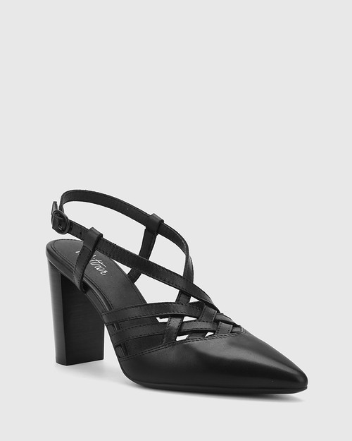 Hao Black Leather Pointed Toe Block Heel.