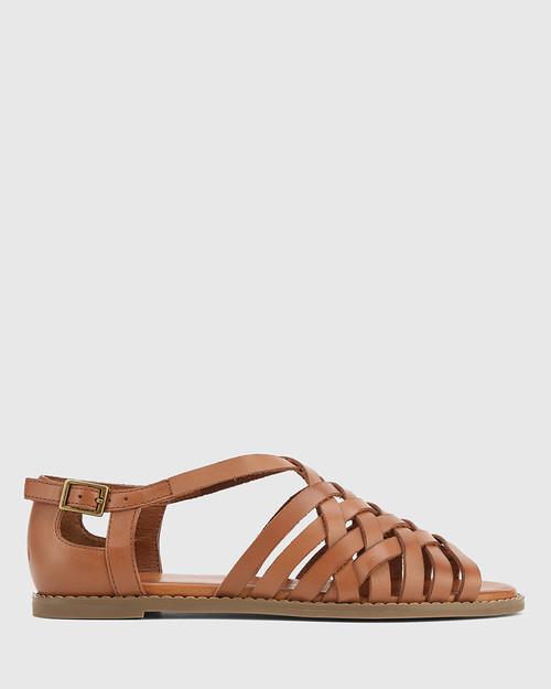 Jadore Tan Leather Open Toe Flat Sandal. & Wittner & Wittner Shoes