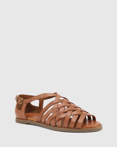 Jadore Tan Leather Open Toe Flat Sandal.
