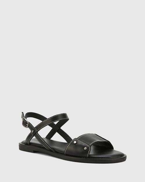Cabello Black Leather Open Toe Flat Sandal.
