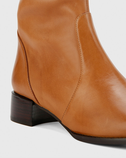 Bernia-M Tan Waxy Burnish Leather Long Boot Almond Toe. & Wittner & Wittner Shoes