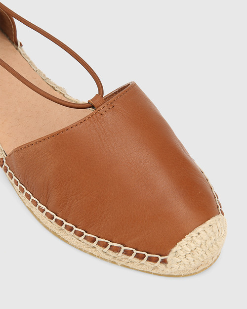 Elgin Dark Cognac Leather Espadrille Flat. & Wittner & Wittner Shoes