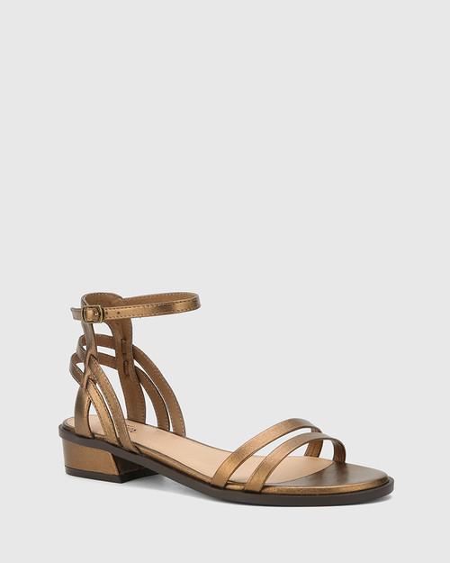 Taya Bronze Metallic Leather Flat Sandal.