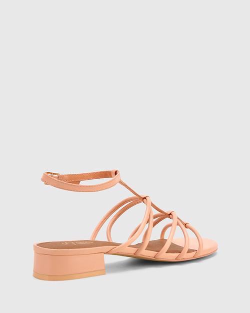 Beckie Pastel Peach Leather Open Toe Block Heel Flat Sandal. & Wittner & Wittner Shoes