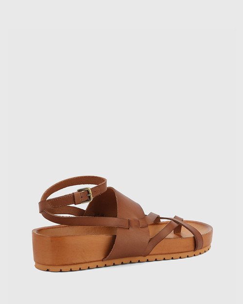 Emmaline Tan Leather Open Toe Platform Sandal.