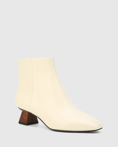 Gotham Buttercream Leather Sculptured Heel Ankle Boot.