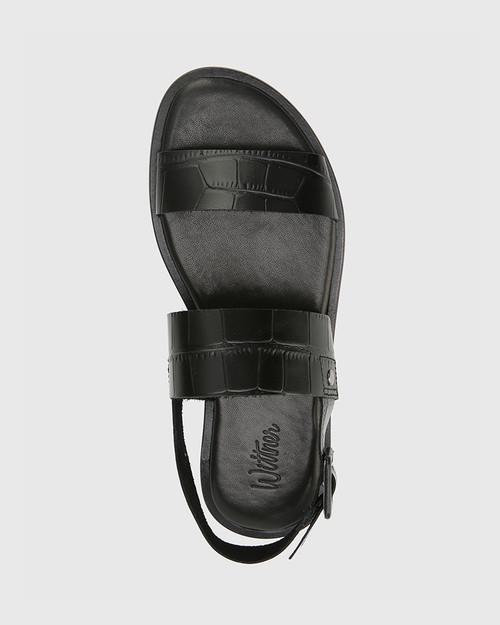 Chastity Black Croc-Embossed Leather Sandal & Wittner & Wittner Shoes
