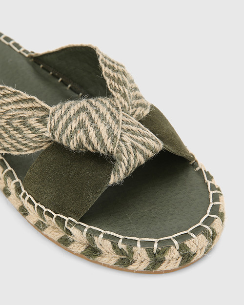 Evella Army Multi Suede And Textile Slide. & Wittner & Wittner Shoes