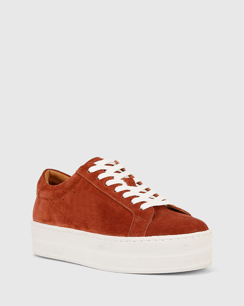 Francisco Rust Suede Flatform Sneaker.