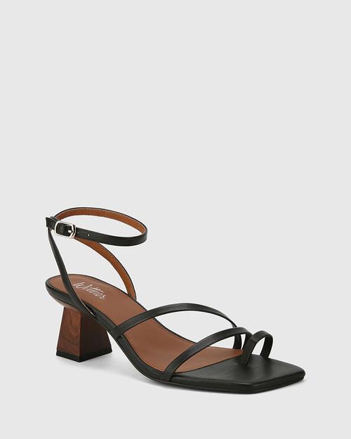 Kaiya Black Leather Strappy Sculptured Heel Sandal.
