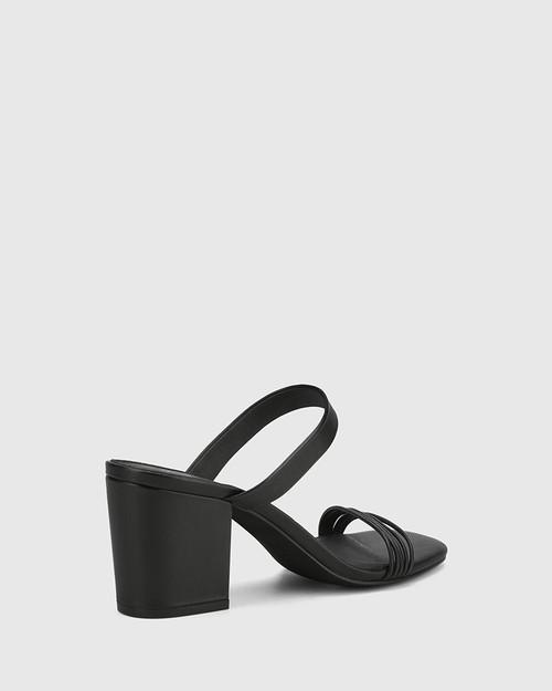 Christiano Black Leather Slip On Block Heel Sandal.