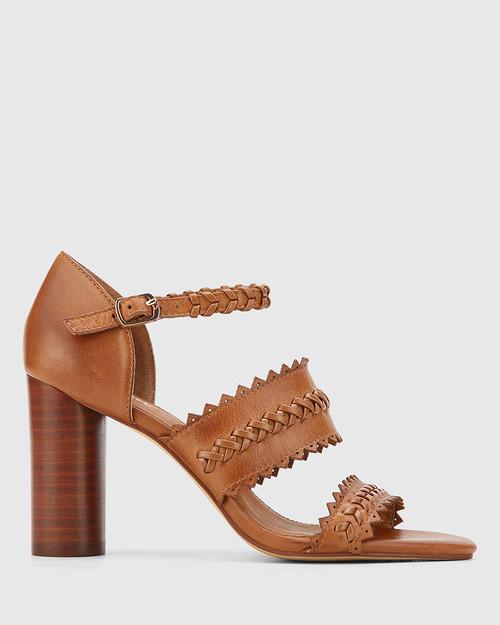 Roslyn Dark Cognac Open Toe Block Heel Sandal.