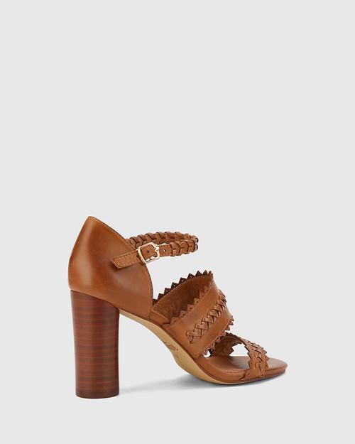 Roslyn Dark Cognac Open Toe Block Heel Sandal