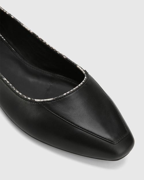 Eldon Black Leather Snib Toe Snake Detail Flat.