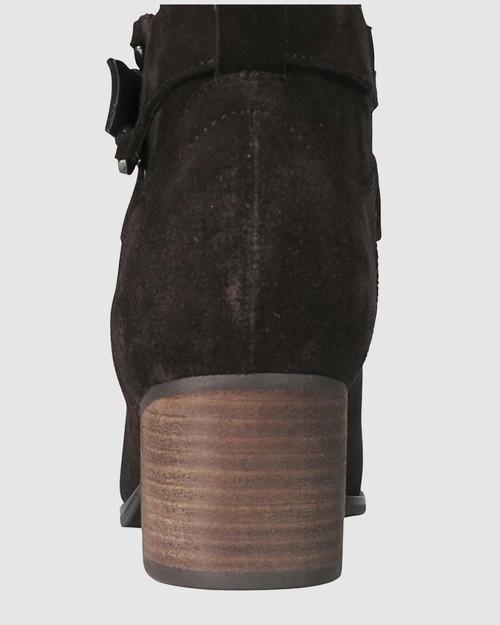 Frann Chocolate Suede Equestrian Block Heel Knee High Boot. & Wittner & Wittner Shoes