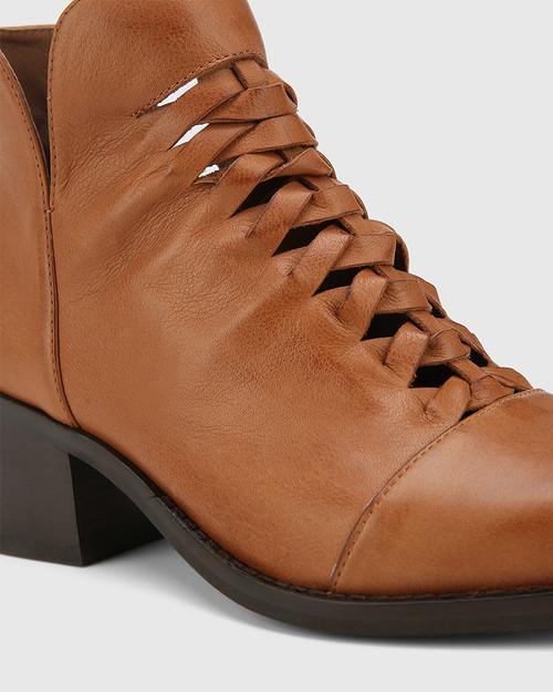 Jonny Dark Cognac Leather Plaited Front Ankle Boot. & Wittner & Wittner Shoes