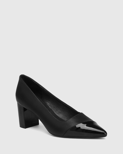 Dashing Black Leather With Patent Toe Block Heel Pump