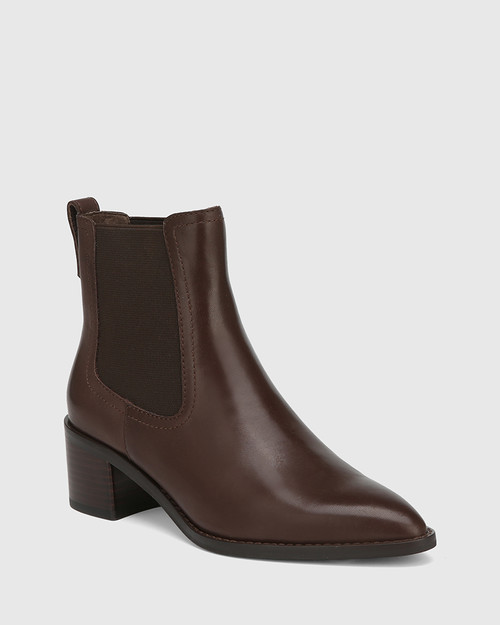 Jenae Chocolate Leather Elastic Gusset Ankle Boot & Wittner & Wittner Shoes