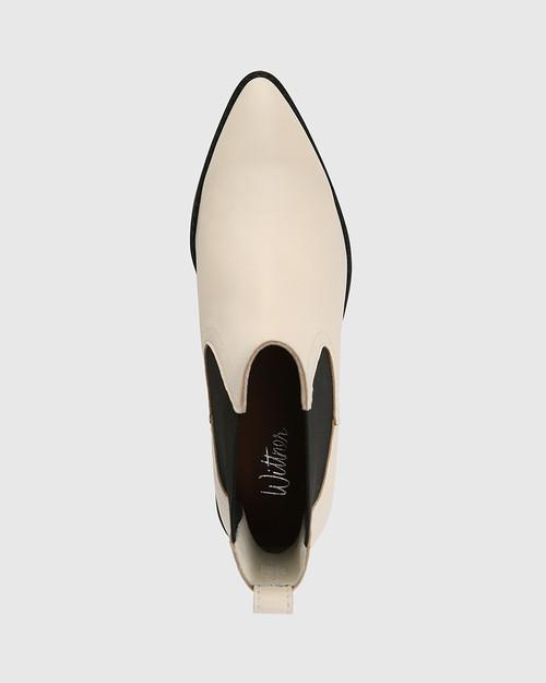 Jenae Vintage Ivory Leather Elastic Gusset Ankle Boot & Wittner & Wittner Shoes