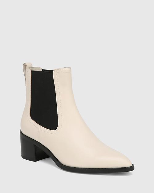 Jenae Vintage Ivory Leather Elastic Gusset Ankle Boot