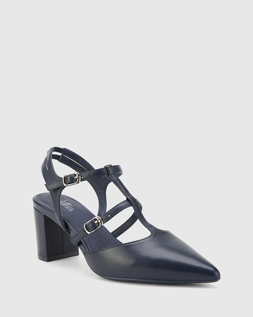 Davor Oxford Blue Leather Pointed Toe Block Heel