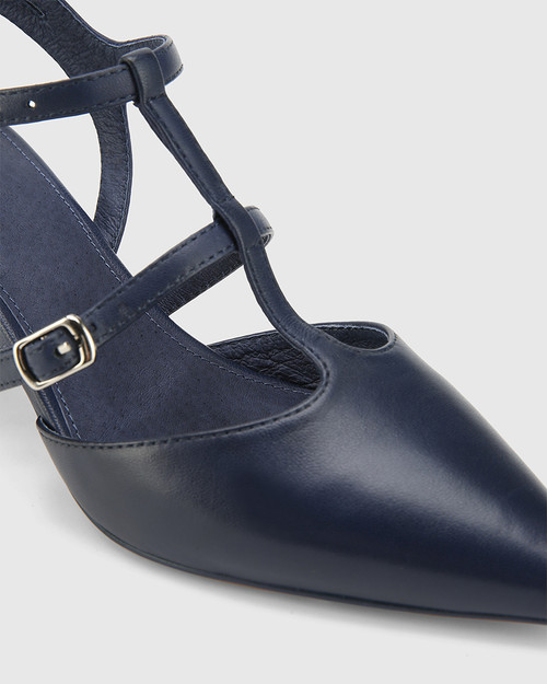 Davor Oxford Blue Leather Pointed Toe Block Heel.