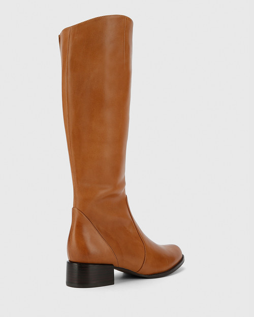 Bernia-W Tan Waxy Burnish Leather Long Boot Almond Toe. & Wittner & Wittner Shoes
