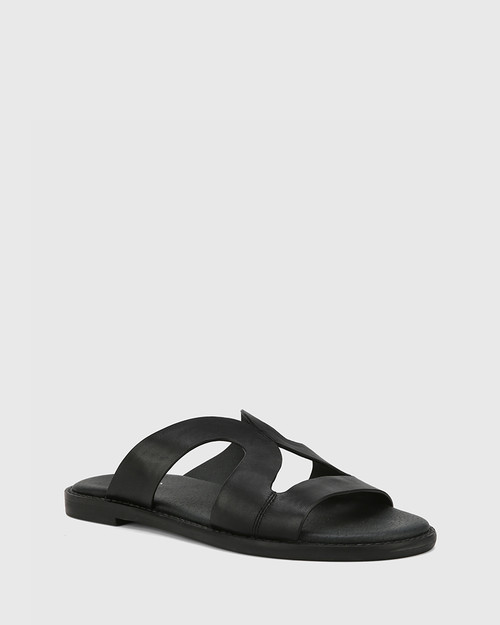 Casio Black Leather Cut Out Slide.
