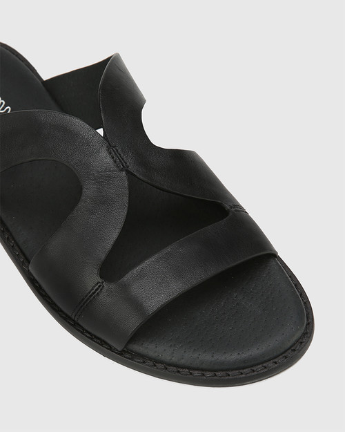 Casio Black Leather Cut Out Slide. & Wittner & Wittner Shoes