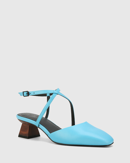Granada Aqua Blue Leather Square Toe Sculptured Heel