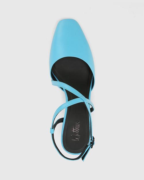 Granada Aqua Blue Leather Square Toe Sculptured Heel