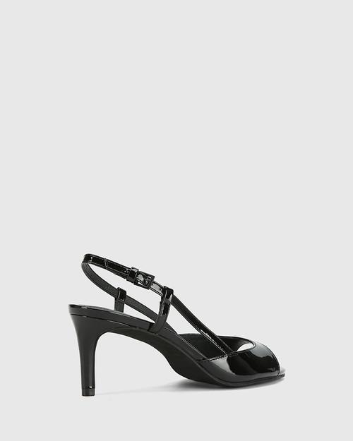 Nahla Black Patent Leather Open Toe Stiletto Heel. & Wittner & Wittner Shoes