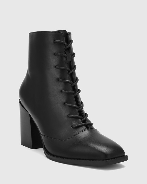 Scotty Black Leather Lace Up Ankle Boot