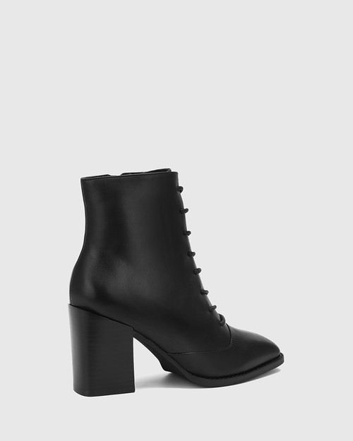 Scotty Black Leather Lace Up Ankle Boot & Wittner & Wittner Shoes