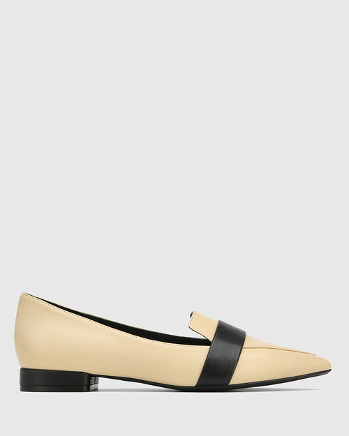 Maisy Sand Leather With Black Detail Loafer & Wittner & Wittner Shoes