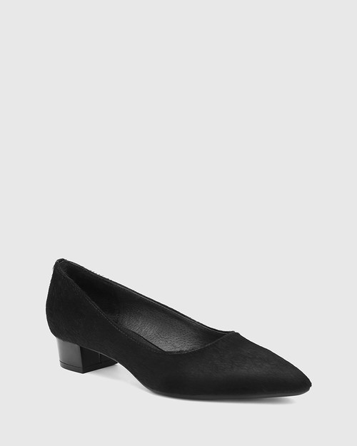 Armin Black Hair-on Leather Pointed Toe Block Heel